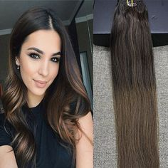 9 Pcs Best Clip in Balayage Ombre Clip In Hair Extensions | Full Shine