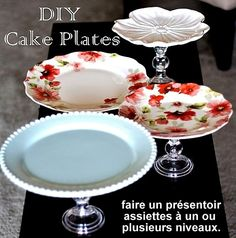 DIY Cake Plate(s) Use dollar store candlestick holders and found plates (Goodwi. - DIY with a small budget - DIY Cake Plate(s) Use dollar store candlestick holders and found plates (Goodwill, Value Village, - Dollar Store Crafts, Dollar Stores, Dollar Dollar, Homemade Gifts, Diy Gifts, Bolo Diy, Dessert Aux Fruits, Diy Cake, Deco Table