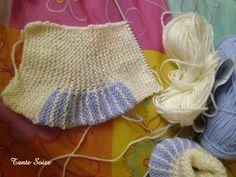 J'utilise ici une laine qui se tricote en 3 1/2.Pour une taille Naissance, il vaudrait mieux prévoir du 3. 1:monter 25m et...