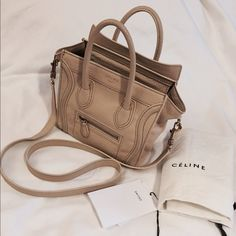 "⚡️SALE⚡️Celine nano leather bag Crossbody beige 100% authentic   Size: 7.6"" x 3.1"" x 7.5""  Condition: used in good condition, but has some stain shown in the pics.  Serial No: S PA 0111  Comes with: Dust bag & strap  Color: beige  Material: leather  Outside pocket & inside pocket  Please see pics for more detail and condition. Celine Bags Crossbody Bags"