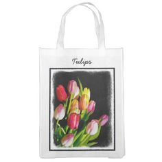 Tulips Grocery Bag - accessories accessory gift idea stylish unique custom