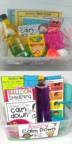 Teach children to self-regulate, manage their emotions, develop self-control, and self-esteem with this social-emotional learning resource. Kids will make a DIY calm down kit with a stress ball, sensory glitter bottle, and other hands-on tools that are perfect for the calming corner in the classroom. PLUS facilitate practicing yoga, brain breaks, and other mindfulness strategies in the classroom. #mindfulness #socialemotionlearning #selfregulation #calmdownstrategies #calmdownkit