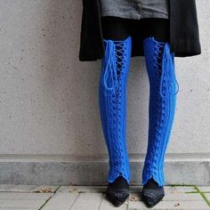 Limb-Crocheted Corsets - Colorful and Warm Handmade Lace-Up Leg Warmers (GALLERY)