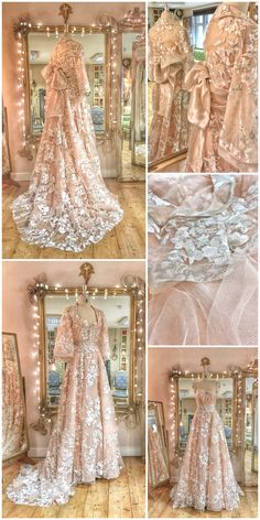 Embroidered cherry blossom tulle and silk kimono inspired wedding dress by Joanne Fleming Design dresses silk ballgown Embroidered Cherry Blossom Kimono Inspired Wedding Dress Fantasy Gowns, Vintage Princess, Wedding Gowns, Wedding Kimono, Lace Wedding, Crystal Wedding, Fantasy Wedding, Wedding Outfits, Trendy Wedding