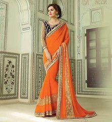 Dark Orange Color Georgette Designer Party Wear Sarees : Aastha Collection  YF-40178