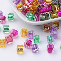 Cheap DIY 50g Pastel Baby Candy Color Glass Cube Beads KIDS DIY Jewellery Making