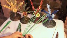 Composicion floral con una rama tejida. Parte 2.