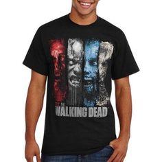 Walking Dead Faces Men's Graphic Tee, Black
