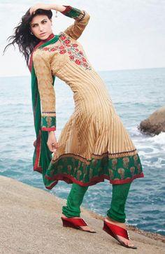 $122.8 Brown Silk Resham Work Anarkali Salwar Suit 26642
