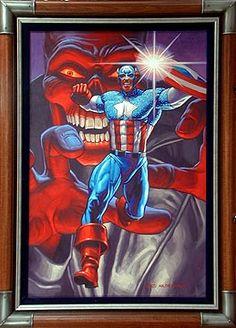 Captain America & Red Skull by Hildebrandt Capitan America Marvel, Captain America Art, Comic Books Art, Comic Art, Book Art, Marvel Heroes, Marvel Comics, Red Skull Marvel, Captan America