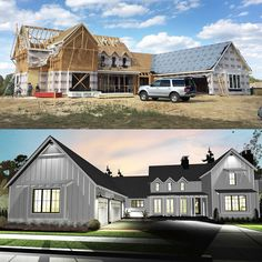 Architectural Designs Modern Farmhouse Plan 62544DJ under construction in reverse orientation in Mississippi! Ready when you are. Where do YOU want to build?