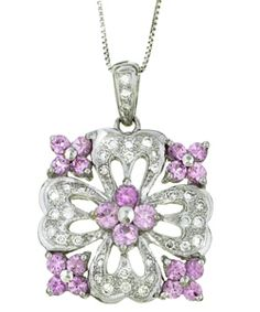 @Overstock - Artsy floral pendant has four pink sapphire flowers on the diamond flowerWith another pink sapphire flower in the center, necklace will be a delight in your jewelry collectionPendant and chain are crafted of shimmering 14k white goldhttp://www.overstock.com/Jewelry-Watches/Encore-by-Le-Vian-14k-Gold-Sapphire-1-4ct-TDW-Diamond-Necklace/2992794/product.html?CID=214117 $569.99