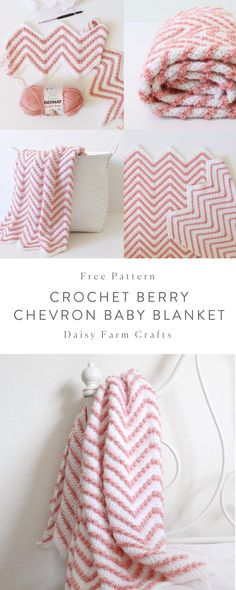 Free Pattern - Crochet Berry Chevron Baby Blanket