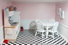 Great American Girl kitchen - love the chair rail