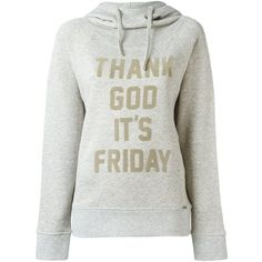 Woolrich Thank God Its Friday Hoodie ($100) ❤ liked on Polyvore featuring tops, hoodies, grey, hooded pullover, hoodie top, gray hoodie, grey hoodies and woolrich