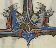 Detail of monkeys singing, from Roman arthurien, 1201-1300. Bibliothèque nationale de France