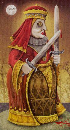 Deviant Moon Tarot - Queen of Swords