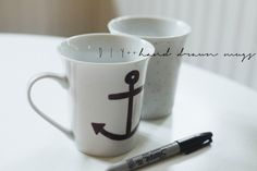 DIY ++ Hand DrawnMugs. Draw with a sharpie and bake for 30 minutes.