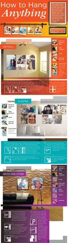 Pictures can really brighten up a dull wall, but hanging them can be a challenge. It's more than making sure the picture isn't crooked, though. This graphic shows you how to hang anything on different types of walls.