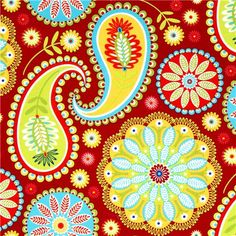 red Michael Miller fabric Gypsy Paisley big flowers  beautiful fabric with big flower Paisley pattern from the USA
