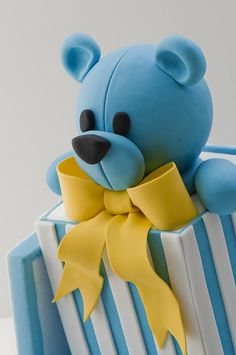 Teddy Bear cake love the yellow and blue combuned with white stripes. Baby Cakes, Baby Shower Cakes, Gateau Baby Shower, Fondant Figures, Fondant Cakes, Cupcake Cakes, Teddy Bear Cakes, Novelty Cakes, Cakes For Boys