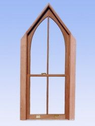 Made with Spanish Cedar, a tropical hardwood grown in Central and South America, this gothic window features true divided lights with insulated Vintage glass, weight, pulley and chain balance system, bronze weatherstripping and solid brass hardware.