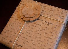 Forget the message in a bottle, try scribbling messages into wrapping paper instead! This homemade gift idea uses only a marker and some sentiment to turn a brown shopping bag into meaningful wrapping paper.