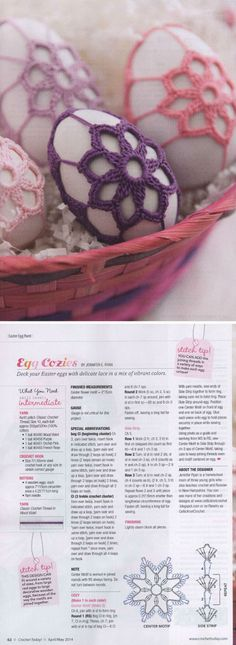 Egg cozies ~ I'd never crochet eggs, but I *would* crochet pebbles  :-) . . . ღTrish W ~ http://www.pinterest.com/trishw/ . . .