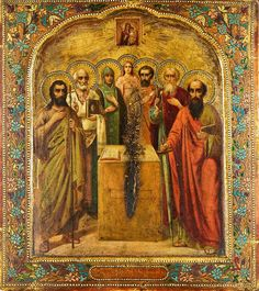 Fine Antique Russian Icon with Group of Saints, Prince Vladimir & Apostle Paul Russian Icons, Russian Art, Religious Icons, Religious Art, Greek Icons, Mama Mary, Religious Paintings, Russian Orthodox, Art Icon