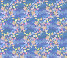 Rainbow Plumeria  Crayon Art on Cornflower fabric by bloomingwyldeiris on Spoonflower - custom fabric