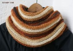 Beige and brown striped mohair knit infinity scarf от FlowerWatch