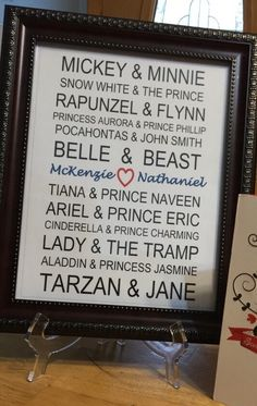 Valentines Day Gift Wedding Gift Disney Couples Personalized Names ...