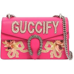 """Gucci Women Small Dionysus """"guccify"""" Leather Bag (16.600 RON) ❤ liked on Polyvore featuring bags, handbags, shoulder bags, fuchsia, genuine leather purse, pink shoulder bag, leather shoulder handbags, chain strap shoulder bag and genuine leather handbags"""