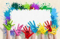 Kids Crafts, Diy And Crafts, Arts And Crafts, Art Party Cakes, Boarder Designs, School Frame, Kids Background, School Labels, Framed Wallpaper