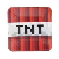 Dekk på bordet til bursdag for den lille Minecraft-fanen! 10 stk kule TNT tallerkener.