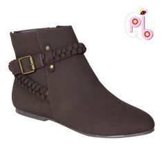 Ankle Brown braded boots A braided buckle makes a sophisticated statement atop these go-to boots featuring a secure zip-up fit.  5'' shaft 11'' circumference Inside zip closure Man-made Shoes Ankle Boots & Booties