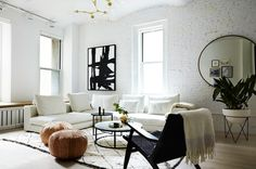 Скандинавский лофт в Нью-Йорке | Дизайн интерьера в стиле лофт в белом цвете