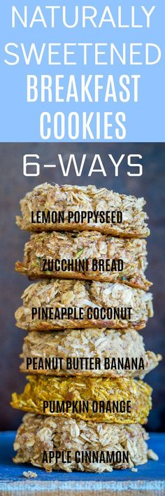 These Naturally Sweetened Breakfast Cookies are only sweetened using dates and applesauce!  They're refined sugar free, gluten free, and vegan!  There's 6 delicious flavors so you never get bored!  They're great for a healthy make ahead grab and go breakfast!
