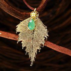 House of Rhya Chrysoprase & Birch Leaf Pendant | AtAuction.com