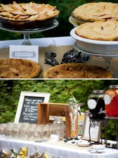 eco conscious wedding with local homemade pies and reusable glassware