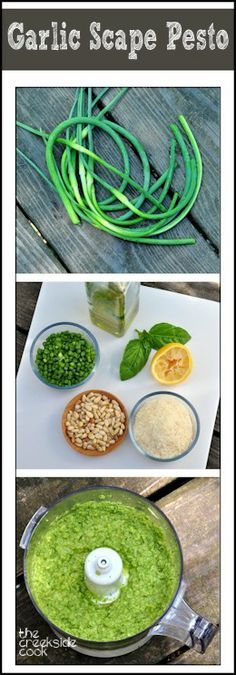 Rocking with spring flavor - Garlic Scape Pesto | The Creekside Cook | #garlicscape #pesto