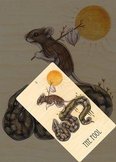 0-The Fool tarot card from The Wooden Tarot by artist A.L. Swartz, Skullgardenshop