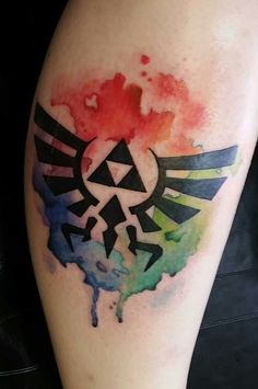 The colors of the triforce tattoo. Eric Clark @ Solid Metal, MI, USA