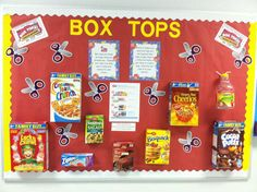 Box Tops for Education bulletin board for back to school Pta School, School Fundraisers, Back To School, Box Tops Contest, School Bulletin Boards, School Projects, School Ideas, Education, Board Ideas