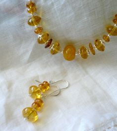 Yellow Amber Glass Earrings by HollynSage on Etsy, $18.00