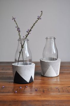 cement painted clay pots. Such a cute idea!!!