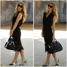 New look. Fashion. Street style. Givenchy Antigona bag. Black outfit. Lace pencil skirt.