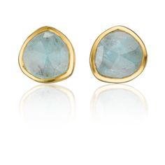 Monica Vinader Gold Vermeil Siren Stud Earrings - Aquamarine ($135) ❤ liked on Polyvore featuring jewelry, earrings, stud earrings, aquamarine jewellery, monica vinader earrings, aquamarine earrings and gold vermeil earrings