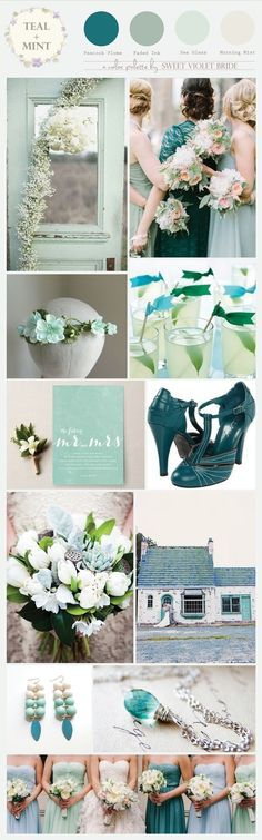 Color Palette : Teal + Mint/Sea Foam #wedding #inspiration @caroljskelly this is close to what I was thinking about