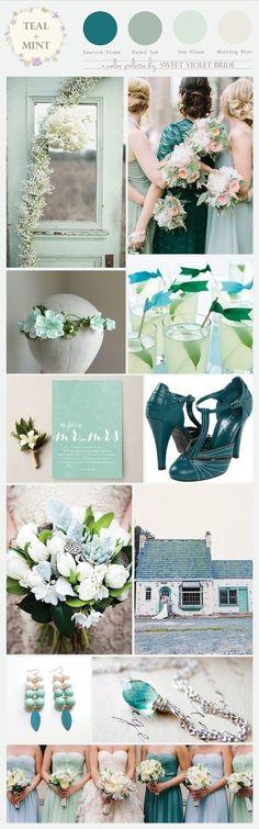 Color Palette : Teal + Mint/Sea Foam #wedding #inspiration